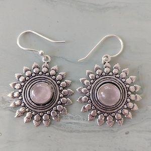 Super cute pink quartz stamped 925 earrings